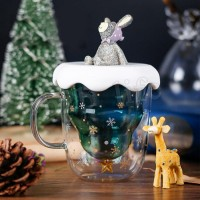 300ML Creative Double-Layer Glass Christmas Tree Star Water Cup With Lid