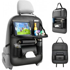 Car Leather Backseat Organizer with Tablet Bottle holder, Foldable Table Tray and  Tissue Box