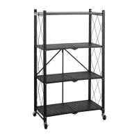 4-Layer Folding Shelf Mobile Steel Shelving Storage Unit - Black
