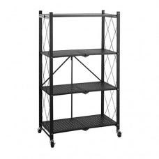 4-Layer Folding Shelf Mobile Steel Shelving Storage Unit - Black