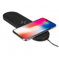 3 in 1 Mini Airpower Qi Wireless Fast Charging Pad for Samsung, iPhone 8/ 8Plus/ X/ Xr/ Xs/ Xs Max and Apple Watch 1/ 2/ 3/ 4