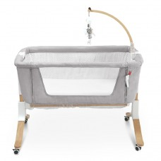 Multifunctional Baby Bedside Bassinet Sleeper Easy Folding Portable Crib with Solid Wood Legs