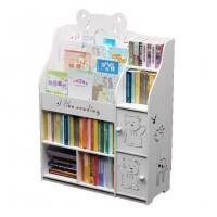 Childrens Kids Cartoon Engraved Bookshelf Multi-Layer Organizer Shelf with Storage Rack Cabinets - White