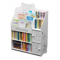 Childrens Kids Cartoon Engraved Bookshelf Multi-Layer Organizer Shelf with Storage Rack Cabinets - White