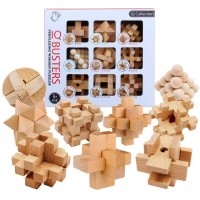 IQ Busters 9 PCS Wooden Brain Teaser Puzzle Assembly & Disentanglement Puzzles for Kids Adults