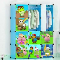 Toytexx Portable DIY Closet Cabinet Wardrobe for Children and Kids Modular Storage Organizer Dresser Hanging Rack Clothes - 12 Cube