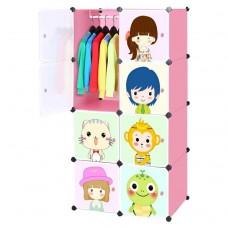 Toytexx Portable DIY Closet Cabinet Wardrobe for Children and Kids Modular Storage Organizer Dresser Hanging Rack Clothes - 8 Cube Set