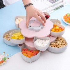 Toytexx Rotating Candy Box,  Non-Slip Flower Shape Snack Organizer with Double Layers, Seeds Nuts and Dry Fruits Storage