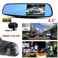 Vehicle Blackbox DVR Car Rear View Mirror with full 1080p HD Recording
