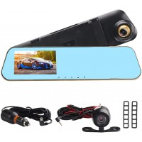 4.3 Inch Screen HD Dual DVR Lens Camera Rearview Mirror Dash Cam