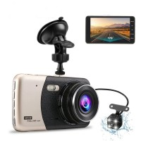 Dual Dash Cam Full HD 1080P 4 inch LCD Screen with 170°Wide Angle Night Vision