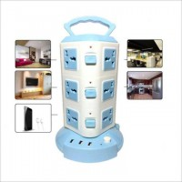 3 Layer Universal Vertical  Multi Plug Socket Tower With12 Outlet Power and 3 USB