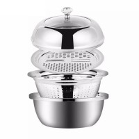 4 PCS Stainless Steel Colander, Grater, Mixing Bowl Set