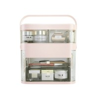 Cosmetic Storage Box Makeup Organizer & Mirror Drawer XM-1003 - Pink