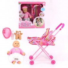 "BiBi 16"" Cuddle Lifelike Baby Play Doll Soft Toy with Stroller - 33220"