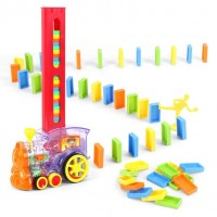 Domino Train Toy Set Rally Electric Train Model With 80 Pcs Colorful Tiles Game Building Blocks Toy Set  - 7012S