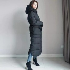 Seamless Down Jacket Long Coat with Removeable Adjustable Hood - 8030