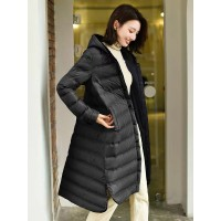 Lightweight Compact Extra Long Down Hooded Long Coat - 8036