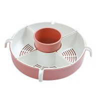 Vegetable Fruit Drain Basket 5-Compartment Rotation Strainer