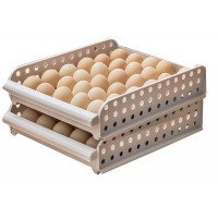 30-Grid Stackable Egg Storage Tray Organizer Shelf - 2 Pack