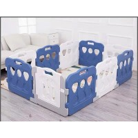 Toytexx 196CM x133 CM (77.2''x52.4'')Baby Kid Playpen Panel Activity Center Safety Fence Playyard-Blue_White_Model