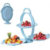 Foldable 3-ply Fruit Plate, Candy Dish, Creative Shape Folding Snack Rack Plastic Fruit Plate