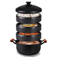 Pre-Seasoned Cast Iron 4-Layer Food Steamer Cookware Pot  Set with lid Stovepot