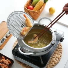 Stainless Steel Tempura Deep Fryer Pot with Thermometer and Oil Drip Rack Lid for Chicken French Fries Fish and Shrimp 2.2L