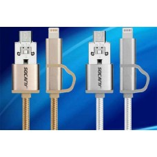 3pcs 2 in 1 Lightning Nylon Micro USB Cable  for iPhone,iPad,iPod,Samsung Galaxy, Tablet, Camera
