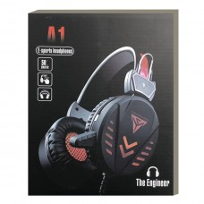 A1 Gaming Headsets 3.5mm Wired Headphones Noise Canceling E-Sport Earphone with Mic Colorful LED Light Volume Control For PC - Black