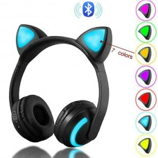 Bluetooth Stereo Cat Ear Flashing Glowing Gaming Headphones with 7 Colors LED light