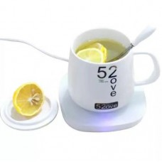 Glass Mug with Electric Tempered Glass Heating Pad Gift Box Set