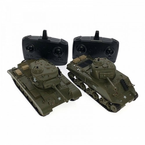 1:30 U S A M26 PERSHING AND M4A3 SHERMAN RC Infrared Battle Tank