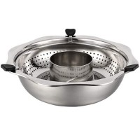 Stainless Steel Hot Pot with Rotating Lifting Drainage Basket