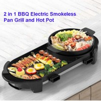 2 In 1 BBQ Electric Smokeless Pan Grill Teppanyaki & Hot Pot Steamboat Combination Party Family Friend Gathering Electric Grill
