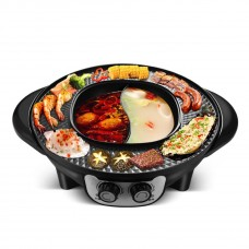 2 in 1 Electric Portable Korean BBQ Grill Hot Pot with Divider, Tabletop Grill and Fondue Smokeless and Non-Stick Integrated Cooker Pot, Electric  Barbecue Electric Baking Pan Hot Pot