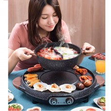 Intexca Multi-Function Electric Portable BBQ Grill Baking Pan Hot Pot with Divider