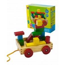 Wooden Pull-along Wagon with Building Blocks