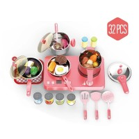 32 PCS Playhouse Induction Cooker Set Children Kitchen Simulation Playset