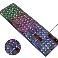 M300 Retro Punk USB Wired Backlit Gaming Desktop Keyboard,104 Key Round Keycap for PC and Mac - Rainbow Backlight Version
