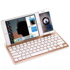 Dual Channel Multi-Device Wireless Bluetooth Keyboard with Stand for Tablet, Smartphone, Windows, Android, iOS - PK908