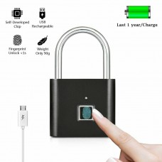 Smart Fingerprint Lock Keyless Anti-theft Padlock with USB Charging Cable for Locker, Office, Backpack, Luggage Suitcase