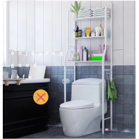 3-Shelf Over Toilet Bathroom Rack Holder for Bath Essentials, Plants, Books - White