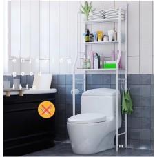 3-Shelf Over Toilet Bathroom Rack Holder for Bath Essentials, Plants, Books - White