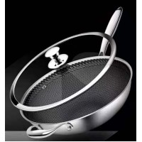 Multi-layer 12'' Stainless Steel Non-Stick Cooking Wok Cookware Frying Pan
