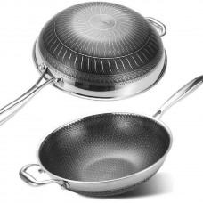 Multi-layer 12'' Stainless Steel Non-Stick Cooking Wok Cookware Frying Pan with Standable Long Handle