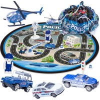 Floor Storage Game Blanket Set with 3 PCS Die-Cast Cars and 1 PC Die-Cast Plane