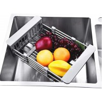 Toytexx Plate Vegetable Fruit Drying Rack Over Sink-Stainless Steel Drainer with Adjustable Arms Holder Functional Kitchen Sink Organizer