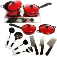 13PCS Cook Ware Toy House Kitchen Pretend Play Utensils Cooking Pots Pans Food Dishes