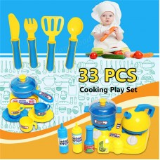 33 Pcs Kitchen Cooking Toys Tea-set Cutlery Pans Kids Pretend Developmental Play Gift